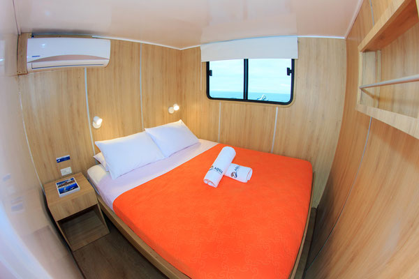 Double bed room cabin of the vessel Galapagos Dive Liveaboard, Galapagos Shark Diving