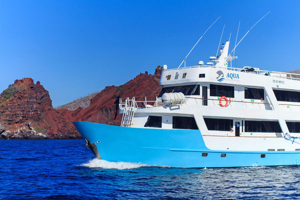 Vessel navigating in the Galapagos