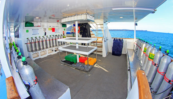 Dive deck of the vessel Galapagos Dive Expedition