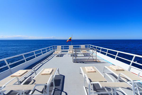 Galapagos Shark Diving - sundeck of the vessel of the dive liveaboard
