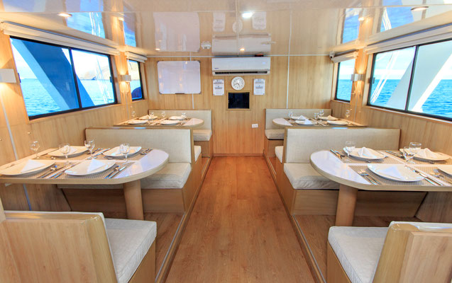 Dining area of the boat for the Galapagos Dive Expedition