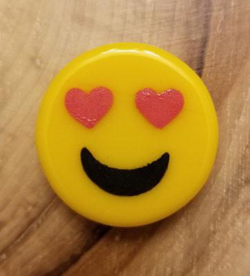 Aimant emoji en verre et peinture fusionnés 1 1/2 pouce 8$