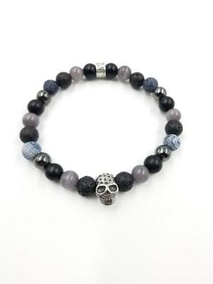 Bracelet avec pierres semies-precieuses avec tête de mort en acier inoxydable 25$
