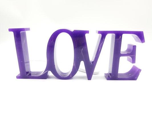 Love en résine éclairé mauve 28$