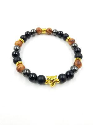 Bracelet tête de léopard, billes de bois et pierres semi-précieuses 22$