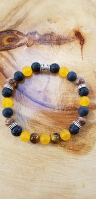 Bracelet avec pierres volcaniques, bois et semi-précieuses 20$