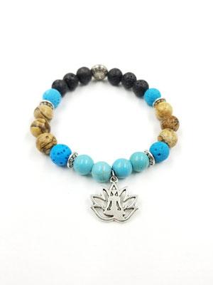 Bracelet avec pierres semies-précieuses et fleur de lotus 17$