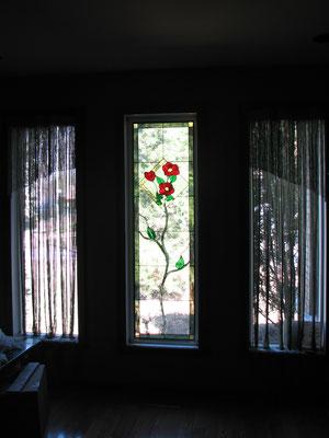 Vitrail fait a partir d'un petit vitrail existant pour une cliente