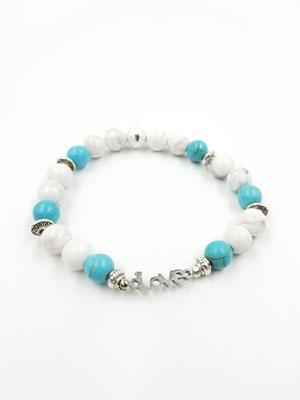Bracelet avec pierres semies-précieuses et love en acier inoxydable 18$