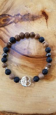Bracelet arbre en acier inoxydable avec pierres volcaniques, bois et semi-précieuses 25$