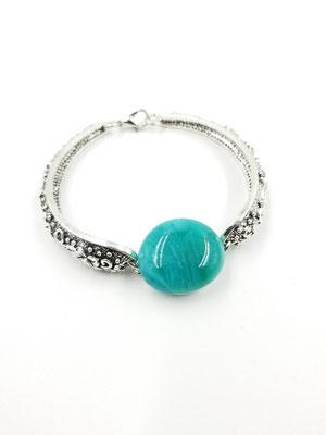 Bracelet avec verre turquoise fusionné 25$
