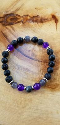 Bracelet avec pierres volcaniques et semi-précieuses 20$