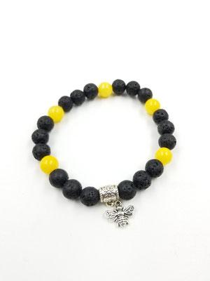 Bracelet abeille avec pierres volcaniques et semi-précieuses 20$