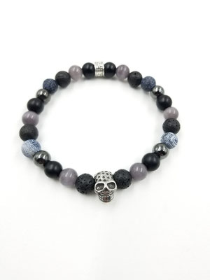 Bracelet tête de mort acier inoxydable, pierres volcaniques et semi-précieuses 25$