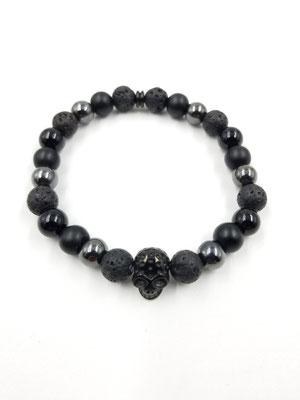 Bracelet avec pierres semies-précieuses et tête de mort en acier inoxydable 25$