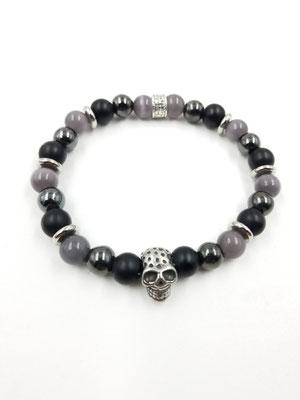 Bracelet tête de mort acier inoxydable et pierres semi-précieuses 25$