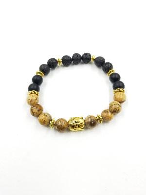 Bracelet bouddha avec pierres volcaniques et semi-précieuses 22$