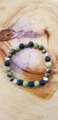 Bracelet arbres en acier inoxydable avec pierres volcaniques et semi-précieuses 20$