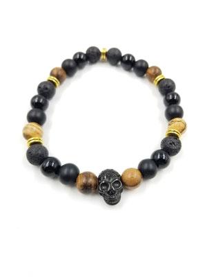Bracelet tête de mort acier inoxydable, pierres volcaniques, en bois et semi-précieuses 25$