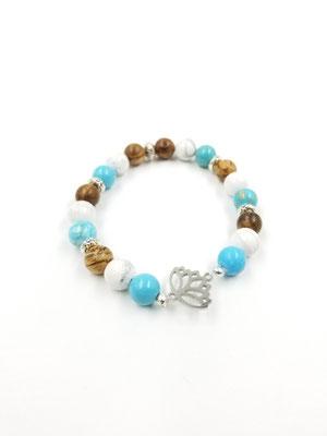 Bracelet avec pierres semies-précieuses avec arbre en acier inoxydable 18$