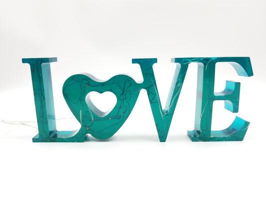 Love en résine éclairé turquoise 28$