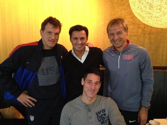 Ländermatch Österreich-USA Nov. 2013: Andreas Herzog, Mag. Heralic, Jürgen Klinsmann, Helge Payer