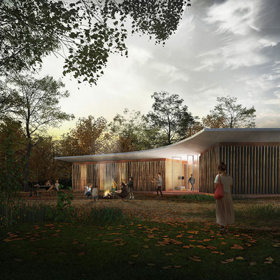 Pavillion evening render forest, for TomDavid Architects