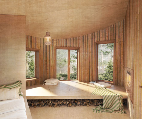 Forest cabin interior rendering for Ozolini