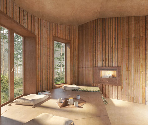 Forest cabin interior rendering for Ozolini