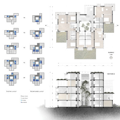 Plan and section retrofit Tsinghua dwellings