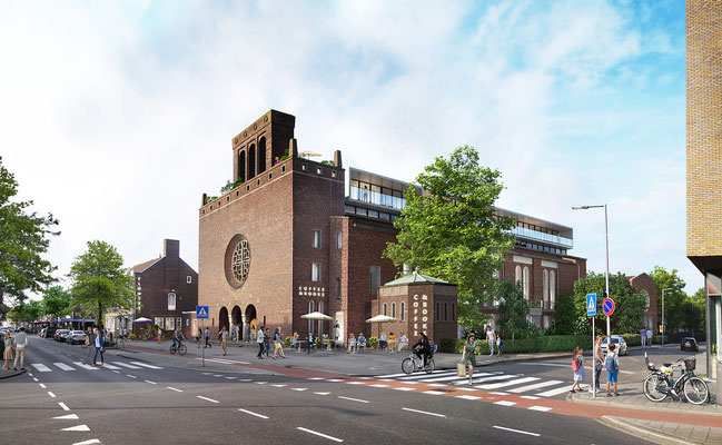 Baumannkerk Overschie transformation, exterior rendering for Hoyt Architecten and Rotterdams Ontwikkel Kollectief
