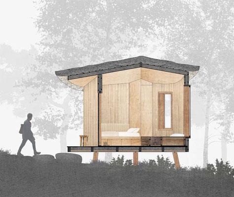 doorsnede hut, in opdracht van Ozolini