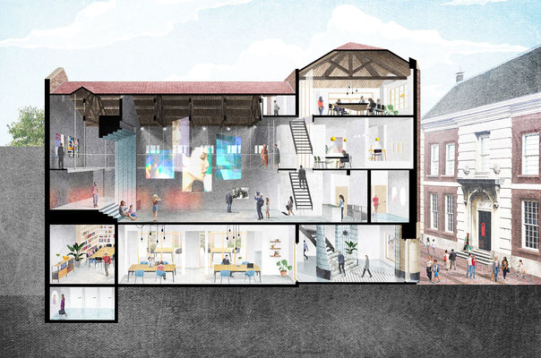 Digital collage renovation Monopole for Stedelijk Museum Schiedam, designed by AtelierRuimDenkers