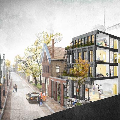 Digitale collage Distillers Hotel Schiedam, in opdracht van AtelierRuimDenkers