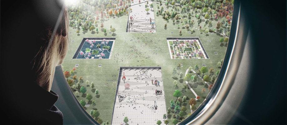 Xianyang Expo Congress overzichtsrender in opdracht van Goldsmith
