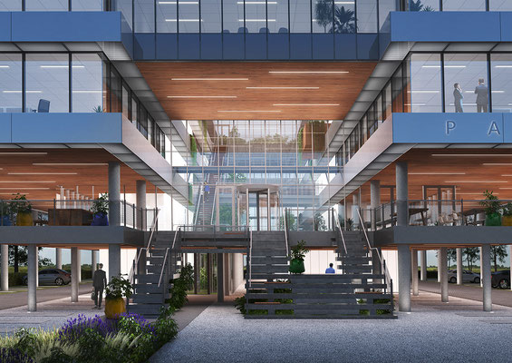 Exterior rendering office Building Paulina, for Moen & Van Oosten Architects