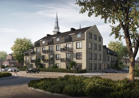 Exterieur render appartementengebouw Oudewater voor Heida Matsumoto Architecten