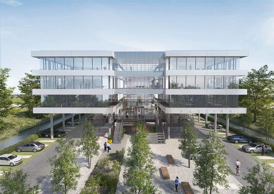 Exterieur render kantoorgebouw Paulina voor Moen & Van Oosten