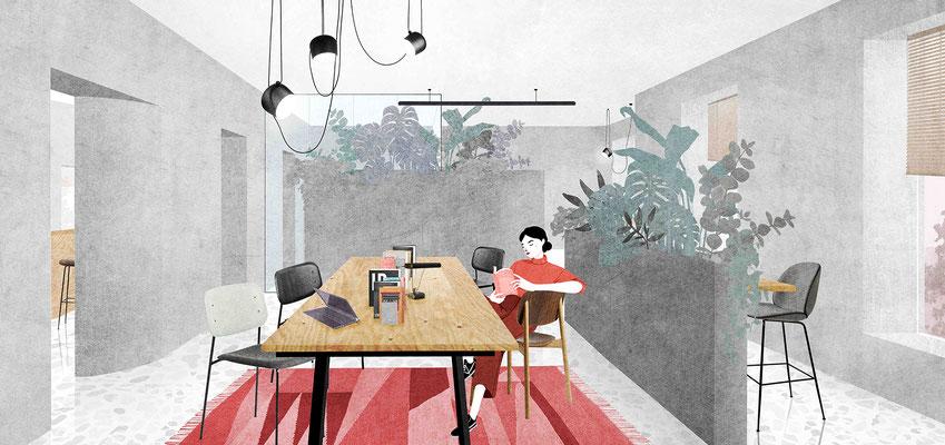 Coworking space interior digital collage
