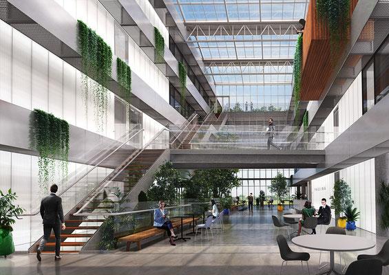 Interieur render kantoorgebouw Paulina voor Moen & Van Oosten