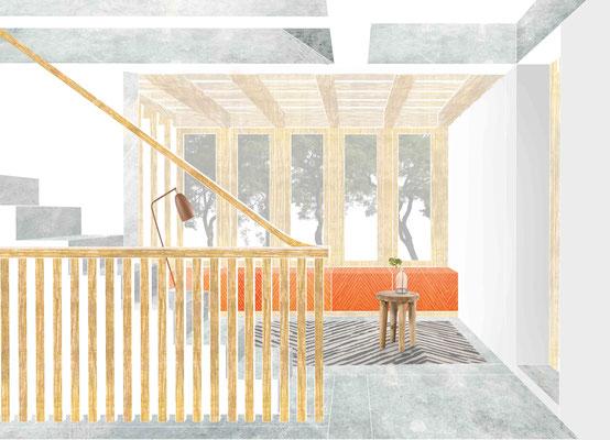 Interieur hal verbouwing woonblok Tsinghua