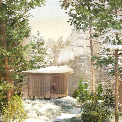 Forest cabin exterior rendering in winter for Ozolini