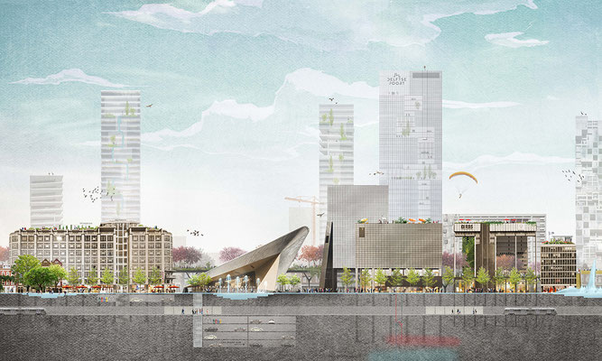 Rotterdam Central District vision collage for  for Echo Urban Design