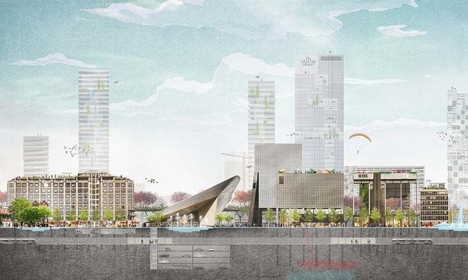 Rotterdam Central District visie collage in opdracht van Plein06