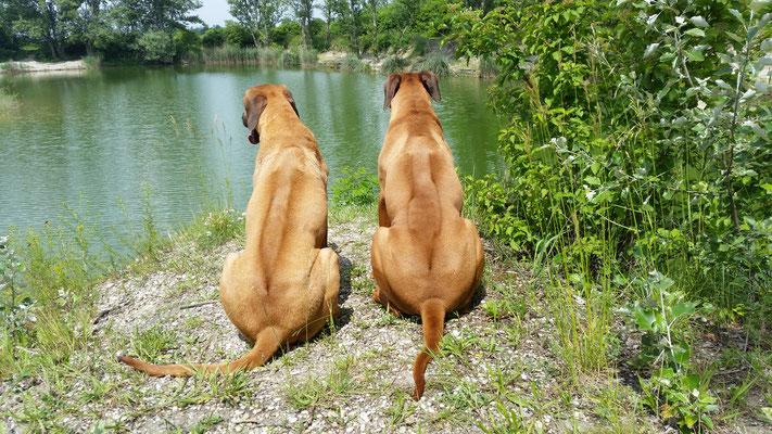 Malaika und Bakari an unserem Lieblingsplatz am See