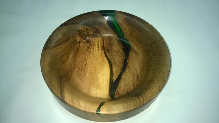 Schüssel aus Walnuss/ Epoxidharz, Durchmesser 45cm, Höhe 9cm