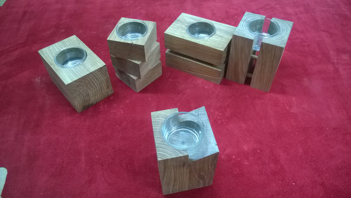 Kerzenständer für Maxi-Teelichte aus Eiche, Höhe ca. 16cm