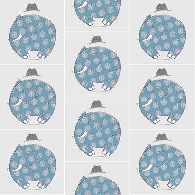 Textildesign  mit halbem Versatz