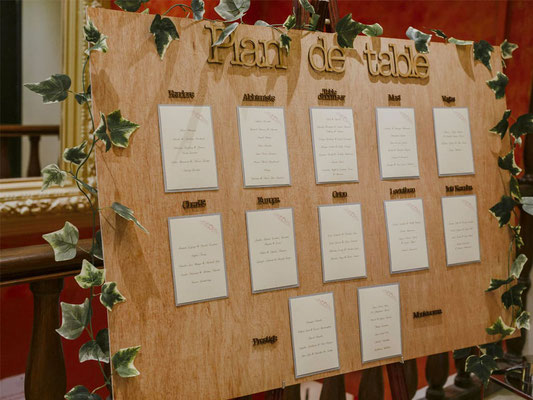 Plan de table en bois et papier