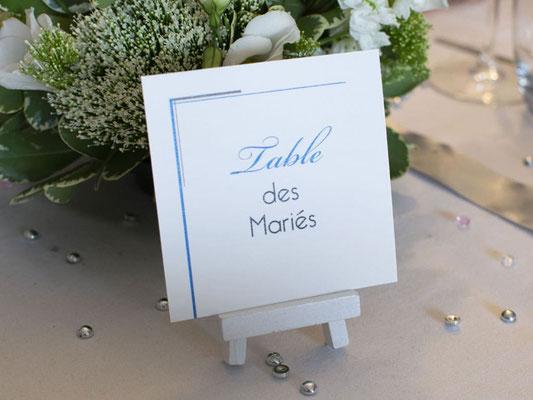 Nom de table sur chevalet